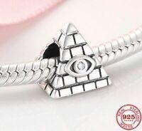Charms Anhänger Echt Silber 925 Pyramide Bösen Zirkon Auge Perle für Armband Neu