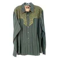 MARTINI RANCH Western Shirt Pearl Snap Front Embroidered Yoke Stripe Mens size L