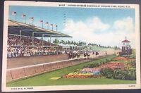 Vintage Postcard Racetrack Thoroughbred Running Horses Hileah Park Miami FL C16