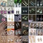 Women 925 Silver Earrings Crystal Ear Stud Hoop Wedding Silver Gold Jewelry