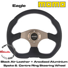 MOMO EAGLE 350MM Black AIR LEATHER ALLUMINUM SPOKE/ CENTRE RING STEERING WHEEL