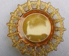 WESTMORELAND AMBER GLASS FLEUR DE LIS PATTERN DESSERT PLATE