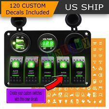 5 Gang Green ON-OFF Toggle Switch Panel 2USB 12V Car Boat Marine RV Truck Camper