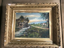 "Antique ""Watermill And Farm Landscape Scene"" Oil Painting - Framed"