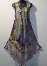 Dress Fits 1X 2X 3X 4X Plus Sundress Green Purple Batik A Shaped NWT 7806 C-2