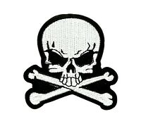 Skull white biker patch backpack iron on/sew pirate backpack motorcycle