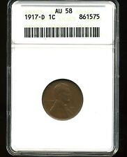 1917-D 1C Lincoln Wheat Cent AU58 ANACS 861575