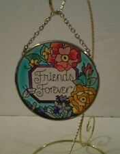 """Amia hand painted """"Friends Forever"""" suncatcher 3 1/2"""" round - Mint"""