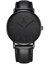 Reloj de Cuarzo Alienwork ik Todo Negro Relojes Ultra-Delgada De Mujer Hombre Diseño atemporal