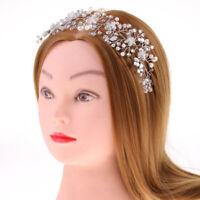 Crystal Pearls Gypsophila Flower Headband Tiara Wedding Hair Accessories