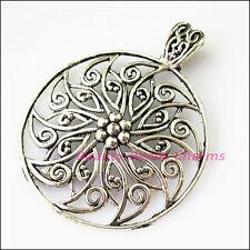 1Pc Tibetan Silver Round Flower Bail Bead Fit Bracelet Charms Connectors 55x69mm