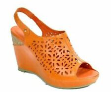 Size 9 Orange Patforms Genuine Leather Sling Back Open Toe Covered Wedge Heels