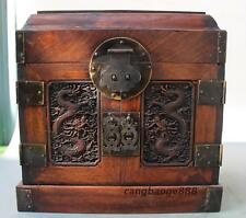 "10"" Old China Collect Dynasty Huanghuali Wood Carved Dragon Casket Storage Box"