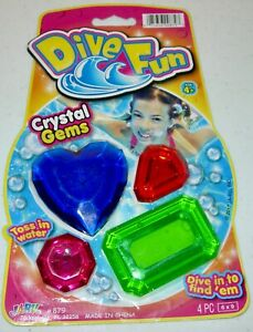 Dive Fun Crystal Gems, 4 Pieces, Toss in Water..Dive in to Find 'Em, NEW