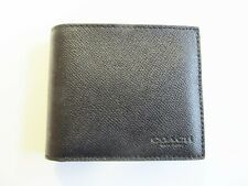 COACH MENS COMPACT ID CROSSGRAIN LEATHER WALLET F59112 BLACK NEW WITH TAGS