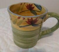 Pier 1 Coffee Cup Mug Tea  Elizabeth Hand Painted Stoneware Floral Flowered