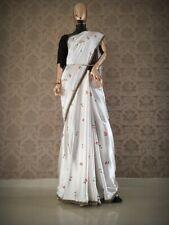 Women Designer Party White Saree With Sari Border & Blouse Bollywood LNB-7013