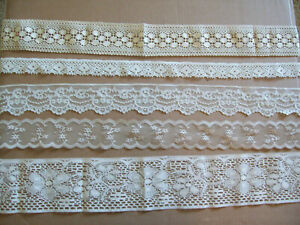 5 Pcs LACE Remnants Mixed Lot Sewing Crafts Trim Beige Cream Taupe 9 yards