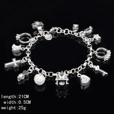 Fashion Women 13 Charm Pendant Bracelet Best 925 Silver Plated Party Jewelry