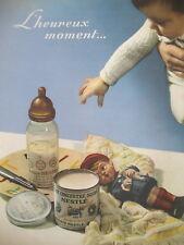 PUBLICITE DE PRESSE NESTLE BéBé LAIT SUCRE L'HEUREUX MOMENT FRENCH AD 1935