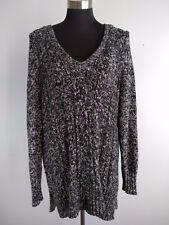 Lane Bryant Womens Sweater 18 Black White Marled V Neck Cable Knit Cotton Blend