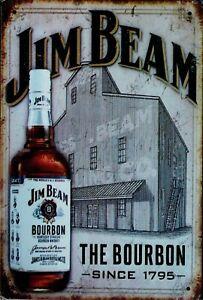 "Retro Blechschild Vintage Nostalgie look 20x30cm ""Jim Beam"" neu"