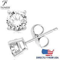 Sterling Silver 925 Solid Round Brilliant Cut Cubic Zirconia Stud Gift Earrings