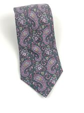 Alain Figaret 100% Silk Tie Hand Made in France Paris Paisley Pink EUC