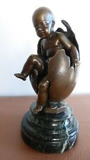 "Emile Boisseau. ""Enfant sortant d'un oeuf"" Sculpture bronze XIXème.Child egg."