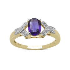 Anelli di lusso con gemme viola in oro giallo 9 carati