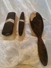Antique Ebony & Sterling Silver Brush Vanity Dressing Table Grooming Set