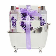 Bath Spa Gift Basket for Women, Body & Earth Lavender Scented 4Pcs Home Spa Gift