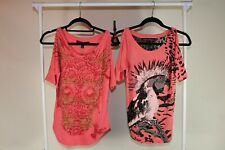 S Julien Chambon Shirt Set of Two Women Hot Pink Graphic Studded Lace Black Top