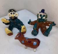 VTG 3pc Original Pottery Art School Craft Clown Sported Dog Figurines