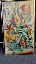 """VINTAGE ABSTRACT PAINTING ARTIST P. AMGRIST VIBRANT COLORS  FRAME 18.5"""" X 31.5"""""""