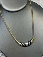 "Vintage Signed Avon Pearl Black Enamel  Pendant necklace Gold  Tone 16"" Inches"