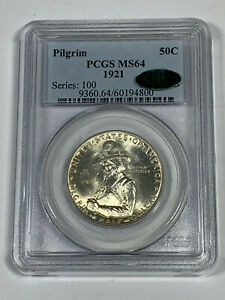 1921 PCGS MS64 Classic Commemorative Pilgrim Half Dollar with CAC Sticker