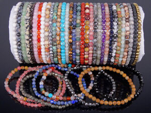 Handmade 4mm Natural Gemstone Faceted Round Beads Stretchy Bracelet Reiki Chakra