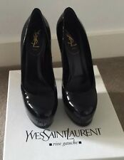 YSL Yves Saint Laurent Black Patent Tribtoo 105 AS NEW w/ Packaging - Sz 39.5