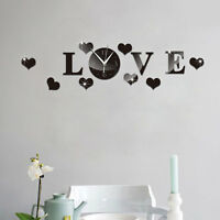 Mirror Wall Love Clock Sticker Living Room Home Mirrored Decor Removable Decal