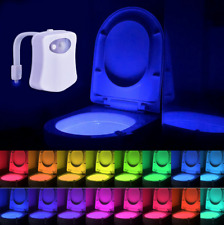 8 Color Toilet Night Light LED Motion Activated Sensor Bathroom Bowl Lamp Seat