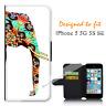 For Apple iPhone 5 5G 5S SE Wallet Flip Phone Case Cover Elephant Orange Y00834
