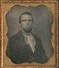 MAN WITH GOATEE, SHARP EARLY DAGUERREOTYPE.  6TH PLATE FULL CASE. NASHUA, N.H.