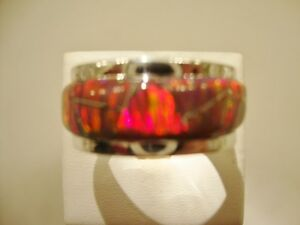 13 HEAVY SOLID STERLING SILVER RED FIRE OPAL WIDE BAND MENS RING PIPE CUT Z+