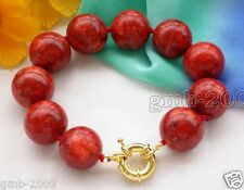 """Fashion Women's Natural 14mm Red Grass Coral Gemstone Bangle Bracelet 8""""AAA"""