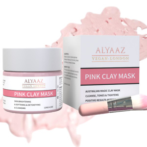 Vegan Australian Magic Pink Clay Mask, Hydrating, Removes Dark Spots, With Brush