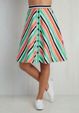 Modcloth With Books to Match Skirt M Chevron Stripes Green Pink Coral Blue