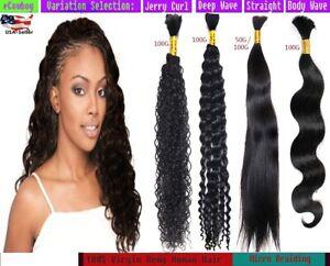 "Diamond Grade Bulk Hair for Micro Braids 100% Human Remy Hair 100g/bundle - 20"""