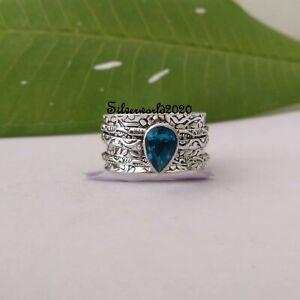 Blue Topaz Spinner Ring 925 Sterling Silver Plated Handmade Ring Size 10.5 vi348