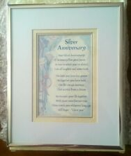 """SILVER METAL """"SILVER ANNIVERSARY"""" POEM IN FRAME - NEVER USED"""